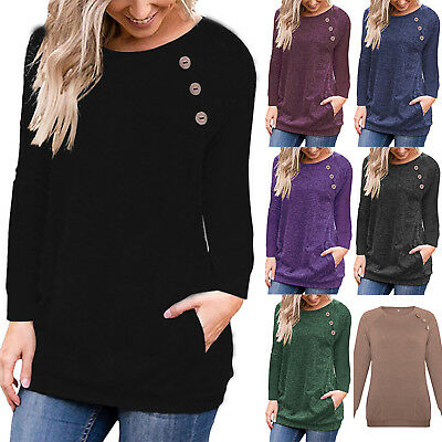 Womens Pullover Long Sleeve Ladies Sweater Sweatshirt Top Loose Jumper Size 8-18 • 14.15£