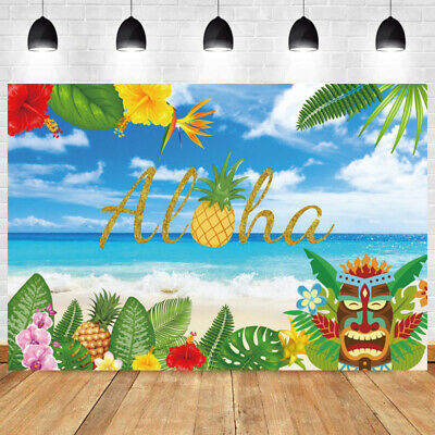 Aloha Photo Backdrop Flower Luau Sea Party Tropical Beach Background Banner Prop • 8.99£