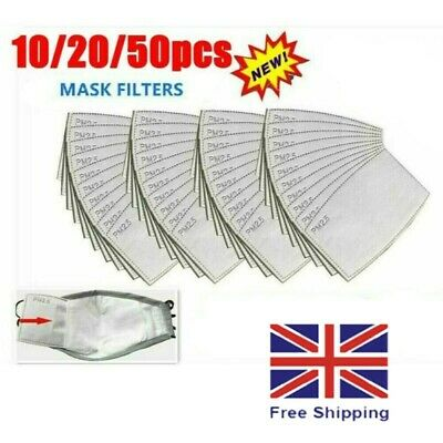 PM2.5 FILTER For Washable Reusable Cotton Face Mask Activated Carbon X 100 • 6.99£
