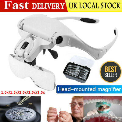 LED Head Magnifying Glasses Headset With Light Hands Free Headband Magnifier Lam • 10.85£