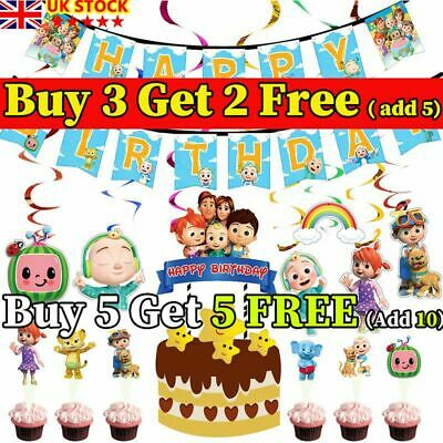 Cocomelon Birthday Party Supplies Plate Tablecover Banner Cake Topper Decoration • 3.89£