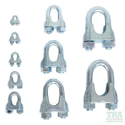 £1.90 • Buy Heavy Duty Wire Rope Grips Clamp Cable Steel Metal Wire U Bolts Fixing 3mm -26mm