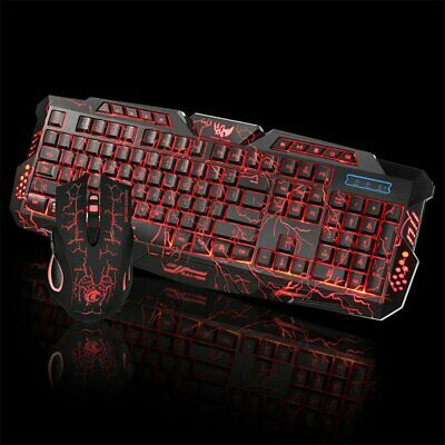 Adjustable 5500 DPI LED Gaming Wired 2.4G Keyboard And Mouse Set For PC Computer • 21.99£