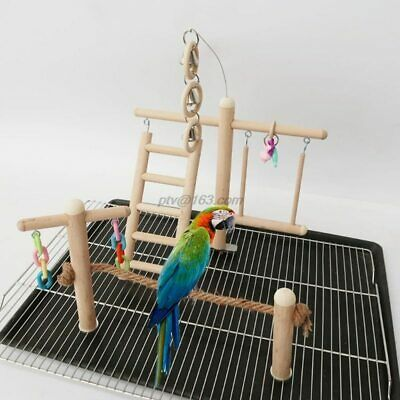 Bird Cage Stand Play Gym Perch Playground Wood Parrot Climbing Ladder Chewing • 23.99£