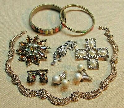$ CDN39.58 • Buy Vintage Costume Jewelry Lot TRIFARI ALILANG STERLING SILVER Sign & More 189a