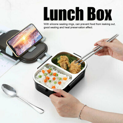 AU20.62 • Buy Stainless Steel Thermos Thermal Lunch Box With Bag Set Food Container 700ml(Blac