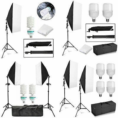 Photography Studio Softbox Continuous Video Lighting Soft Box Light Stand Kit UK • 38.99£