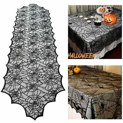 $ CDN8.76 • Buy Halloween Decoration Lace Spider Web Skeleton Skull Tablecloth Black Fireplace