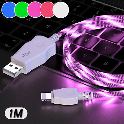 Charging Cord Lead For IPhone IPad LED Light Up Shining Charger Cable • 3.95£