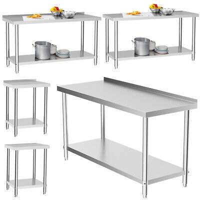 Stainless Steel Catering Table Kitchen Worktop Commercial 2/3/4/5/6FT Bench Top • 59.94£
