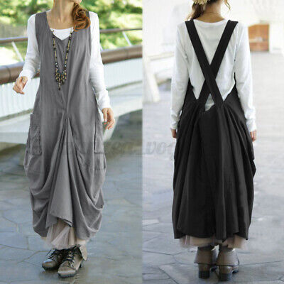 AU15.26 • Buy AU STOCK ZANZEA Women Casual Long Maxi Sundress Pinafores Bib Overalls Dress HOT