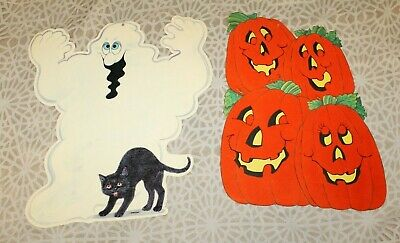 $ CDN16.52 • Buy 2 Large Vintage Halloween Paper Die Cut Double Sided Flocked Pumpkins And Ghost