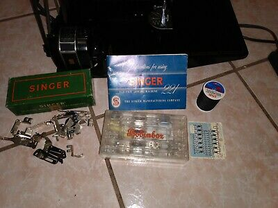 $229.50 • Buy Vintage 1951 Singer 221-1 Featherweight Sewing Machine W Case Attachments Book