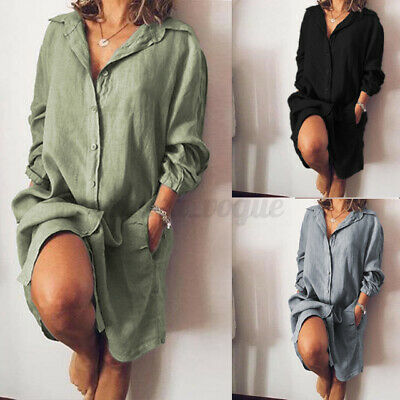 AU17.47 • Buy ZANZEA Women Casual Long Sleeve Button Down Shirt Dress Kaftan Cotton Midi Dress
