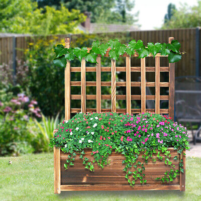 £39.96 • Buy Garden Wooden Plant Box Heavy Duty Raised Bed With Climbing Trellis In&Outdoor