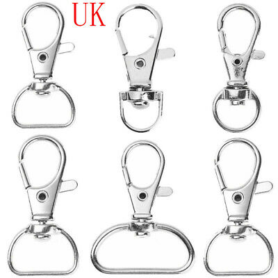 30 Metal Lobster Claw Clasp Spring Load D-Ring Swivel Trigger Snap Hooks Buckle • 4.71£