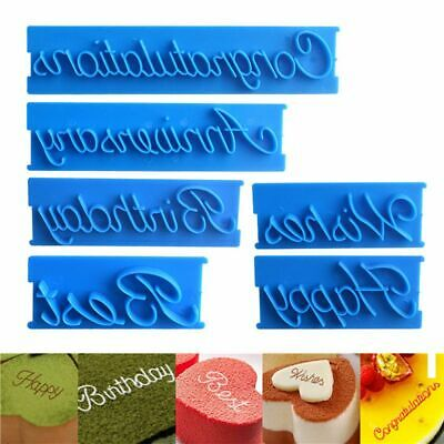 6pcs Blessing Letter Cookie Cutter Cake Decorating Fondant Icing Mold Sugarcraft • 4.95£