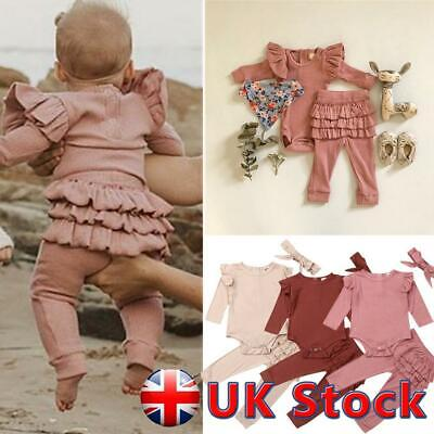 UK Newborn Baby Girl Ribbed Clothes Romper Jumpsuit Headband 3Pcs Ruffle Outfits • 10.99£