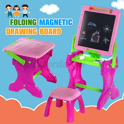 Kids Folding Double Sided Magnetic Drawing Board Easel With Colour Chalk Chair • 21.99£