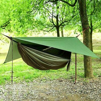 AU49.99 • Buy Camping Hammock With Rain Fly Tarp And Mosquito Net Tent Tree Straps, Portable