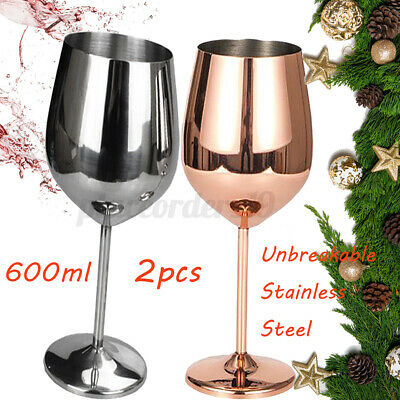 1/2x 500-600ml Shatterproof 304 Stainless Steel Wine Glasses Goblets Cup Copper • 9.49£