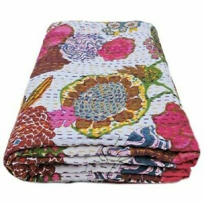£21.99 • Buy Indian Kantha Twin Quilt White Floral Reversible Bedspread Blanket Throw