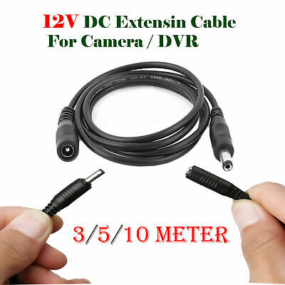 3M 5M 10M Meter 12V DC Extension Cable Wire CCTV Security Cameras/DVR Lead • 2.50£