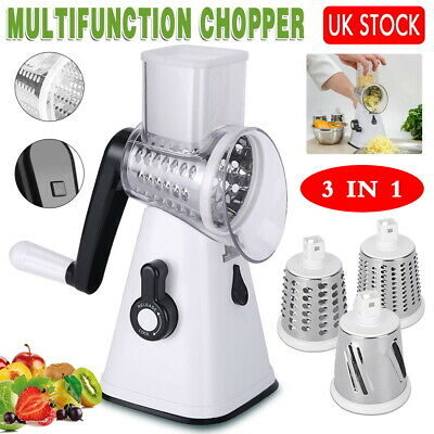 Multi Function Vegetable Slicer Cutter Food Manual Rotary Drum Grater Chopper • 12.99£