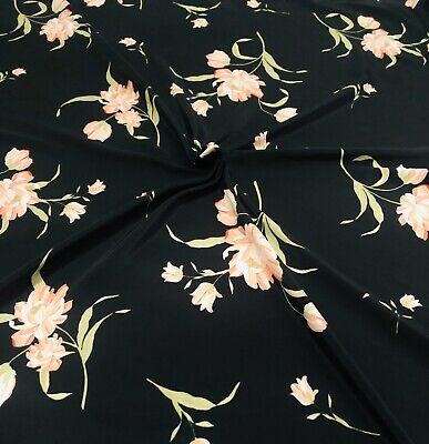 """Black Crepe De Chine With Floral Printed Design 58"""" Wide • 3.99£"""