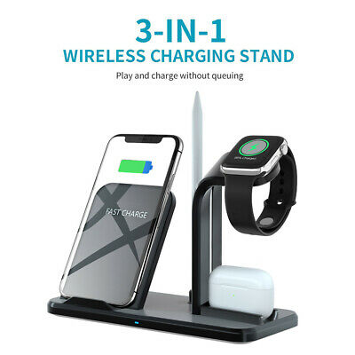 AU29.98 • Buy 3in1 Qi Fast Wireless Charger Station Dock Stand For Apple Watch IPhone Samsung