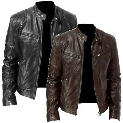 Mens Long Sleeve PU Leather Jackets Steampunk Zipper Coats Winter Warm Outwear • 24.84£