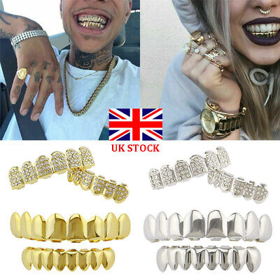 Silver Gold Grillz 24k Diamond Plated Teeth Mouth Grills Bling Diamond Cosplay • 5.29£