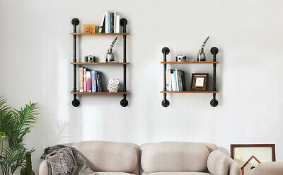2/3 Tier Large Rustic Industrial Pipe Wall Floating Shelf Wooden Storage Shelf • 43.99£