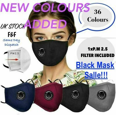 4 Layers Cotton Face Mask With Filter Air Valve.washable, Reusable. Breathable. • 2.99£