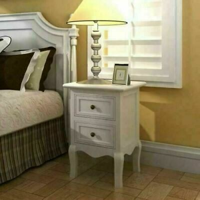 £173.41 • Buy White French Bedside Tables 2pcs Shabby Chic Drawers Vintage Antique Style Pair