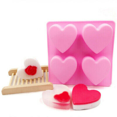 4 Love Heart Mould Silicone Soap Mold Chocolate Candy Gummy Maker Ice Jelly Tray • 3.19£