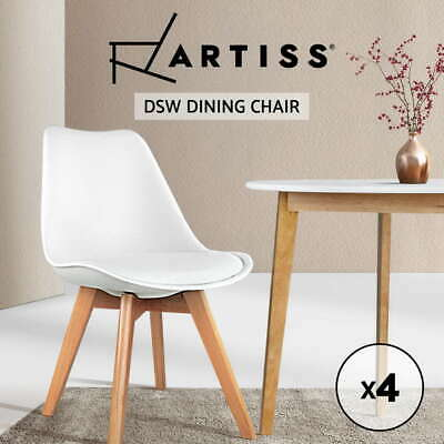 AU157.95 • Buy Artiss Padded Retro Replica DSW Dining Chairs Cafe Chair Kitchen White X4