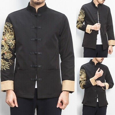 $40.47 • Buy Traditional Chinese Mens Coat Clothing Embroider Dragon Kung Fu Suit Jacket Top