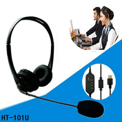 USB Computer Headset Over Ear Wired Headphones For Call Center PC Laptop Skype • 9.79£