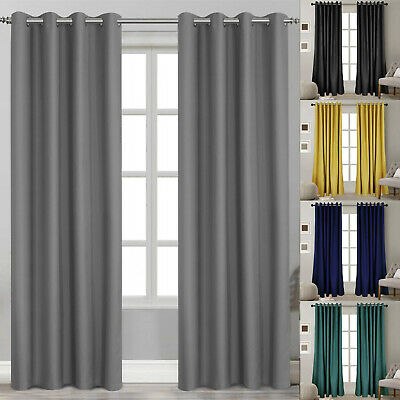 Blackout Curtains Made Thermal Blackout Eyelet Ring Top Curtains Pair Matching • 21.59£