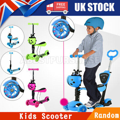 5 In 1 Kids Scooter Flashing Wheels Toddler Kick Scooter Adjust Seat Toys Random • 22.99£