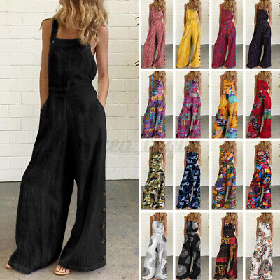AU16.55 • Buy Womens Strappy Jumpsuits Cotton Dungarees Party Beach Rompers Bib Pants Overalls