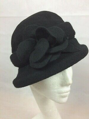 Ladies Black 100% Wool Cloche Hat Exceptional Quality (drawstring Inside) • 11.20£