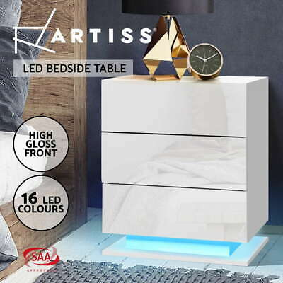 AU109.95 • Buy Artiss Bedside Tables Side Table RGB LED Lamp 3 Drawers Nightstand Gloss White