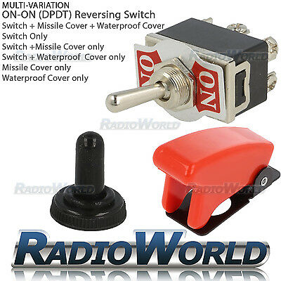 ON / ON Toggle Flick Switch 12V Car Dash Light DPDT 10A + Water / Missile Cover • 2.35£