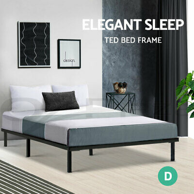 AU109.95 • Buy Metal Bed Frame Double Size Mattress Base Platform Foundation Wooden Black TED