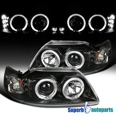 $119.98 • Buy For 1999-2004 Ford Mustang LED Halo Projector Headlights Black Pair