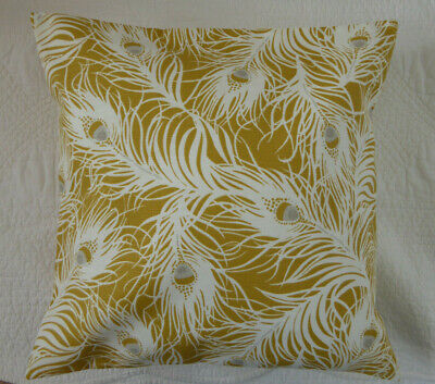 Yellow Cushion Cover Mustard Grey Peacock Feather Cotton Handmade 16 Inch 40cm • 7.25£