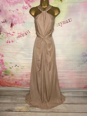 Monsoon Stunning Full Length Nude Maxi Gown Dress Size 14 So Pretty • 29.99£