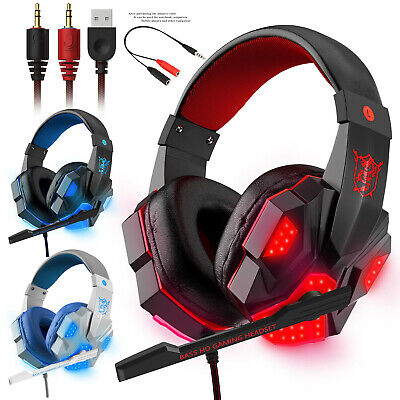 Gaming Headset USB Wired Over LED Stereo Headphone Mic For Phone/Ipad/PC/Laptop • 3.92£
